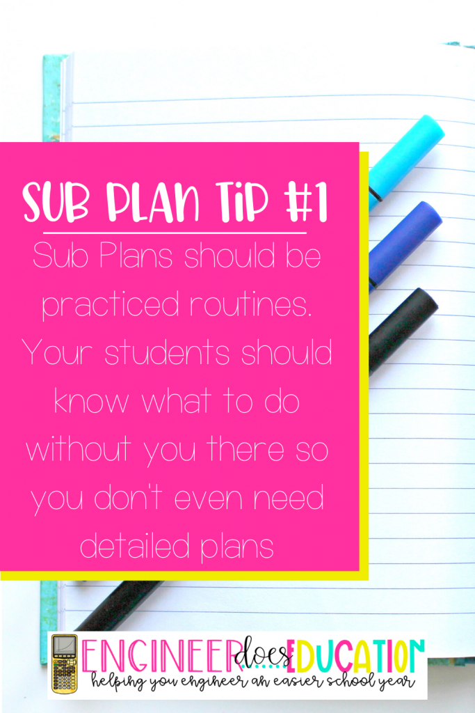 Emergency Sub Plan tips: make routines practiced for subs